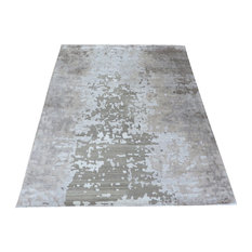 Hand Knotted Brown and Gray Modern Tibetan Oriental Rug With Silk, 8x10