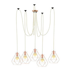 Beige And Copper Swag Chandelier