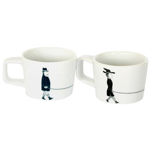 """Walking the Dog"" Coffee Cups, Set of 2"