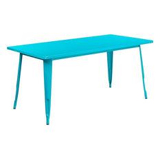 "Brimmes Rectangular 31.5'' x 63'' Crystal Teal-Blue Metal Table, 29.50"""