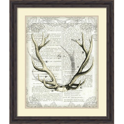 Awesome Prints And Posters Sue Schlabach Regal Antlers on Newsprint I Framed Art Print