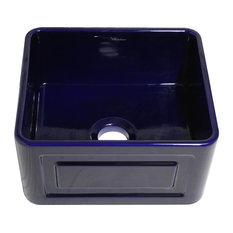Whitehaus WHFLRPL2018-BLUE 20 Fluted/Raised Fireclay Farm Kitchen Sink Blue