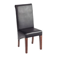 Santiago Dark Mango Wood Leather Dining Chairs, Set of 2