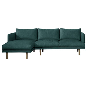 Ottilie Chaise Sofa, Teal, 3 Seater, Left Hand Facing