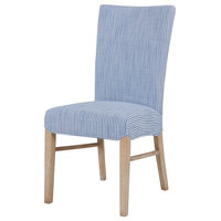 Milton Fabric Chair with Natural Wood Legs, Blue Stripes, Set of 2