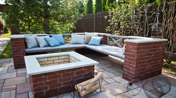 Brick and Wood fire pit area