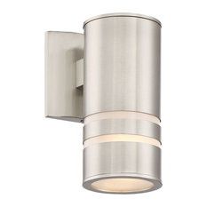"Kira Home Rockwell 8.5"" Cylinder Outdoor Light/Wall Sconce, Brushed Nickel"