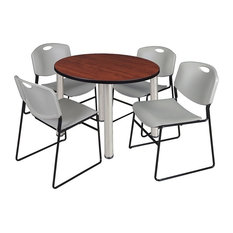 """Kee 36"""" Round Breakroom Table, Cherry/Chrome and 4 Zeng Stack Chairs, Gray"""