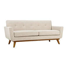 GRIFFON UPHOLSTERED FABRIC LOVE SEAT/BEIGE