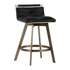 Sunpan 103002 Arizona Swivel Counter Stool, Antique Brass, Black