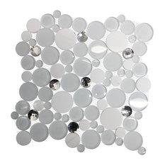 "11.61""x11.61"" Diamond Daze White Glass Marble Diamond Cut Glass Backsplash Tile"