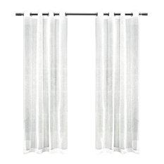 "Sabrina Grommet Top Window Curtain Panels, White, Set of 2 - 50""x96"""