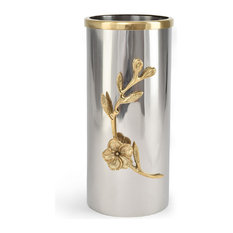Serene Spaces Living Orchid Stem Cylindrical Vase With Gold Rim, Large