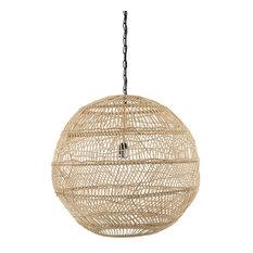 Luhu Open Weave Cane Rib Ball Pendant Lamp, Natural