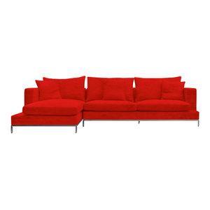 Simena Sectional Sofa, Chrome Plated Steel Tubes Base, Red Velvet