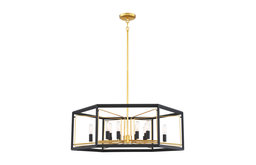 Sable Point 12-Light Pendant, Sand Black With Honey Gold Acc