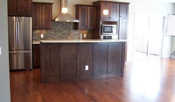 Residential kitchen floor and backsplash.
