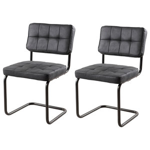Fanny Dining Chairs, Tufted Anthracite, Set of 2