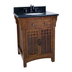 "Westcott Wright Vanity With Glass Inserts, 28"", Black Granite Top"