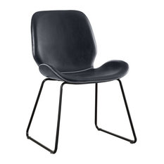 Furniture of America Shara Contemporary Leatherette Accent Chair in Black