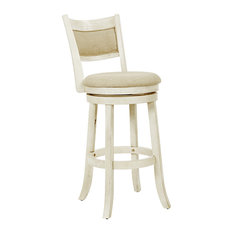 Swivel Stool 30-inch With Solid Back Antique White