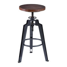 Tribeca Adjustable Barstool Industrial Gray Finish With Ash Wood Seat