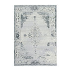 Traditional Faded Abstract Rug, Light Gray, 5