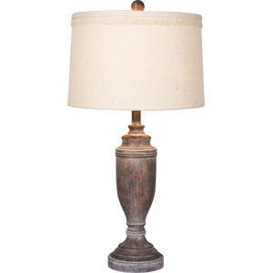 Distressed Formal Decorative Urn Resin Table Lamp Cottage Antique Brown