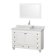 "48"" Acclaim White Single Vanity, White Carrera Top and Pyra White Porcelain Sink"