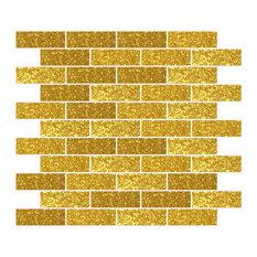 """12""""x12"""" Gold Glitter Glass Subway Tile, Full Sheet"""