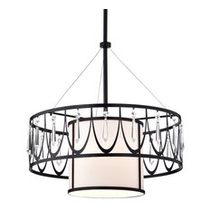 1-Light Finish Double Drum Shades Crystal Pendant Chandelier