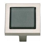 Atlas Homewares Spa Black Square Knob, Brushed Nickel