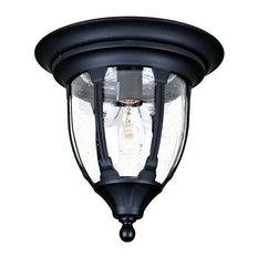 One Light Matte Black Outdoor Flush Mount