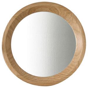Round Oak Wall Mirror, 27 cm