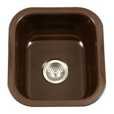 Houzer PCB-1750 ES Porcela  Porcelain Enamel Steel Undermount Bar Sink Espresso