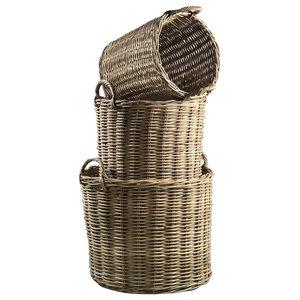 Rabarbaro Rattan Baskets With Handles, Round
