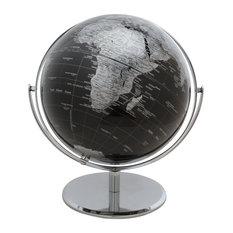 "Vespucci Black World Globe, 10"" Diameter - Chrome Metal  Base"