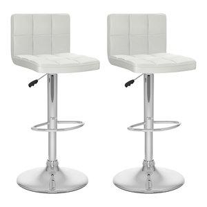 "Corliving 32"" High Back Adjustable Bar Stool in White (Set of 2)"