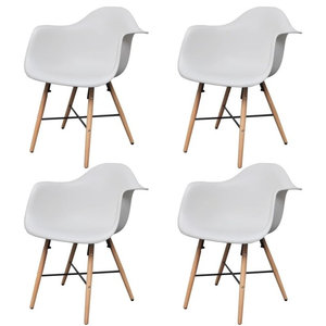 vidaXL Dining Chairs With Armrests and Beech Wood Legs, White, Set of 4