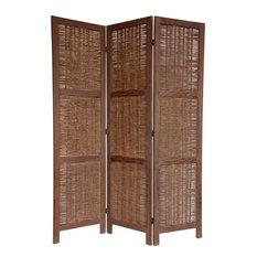 5.5 ft. Tall Bamboo Matchstick Woven Room Divider (3 Panels / Burnt White)