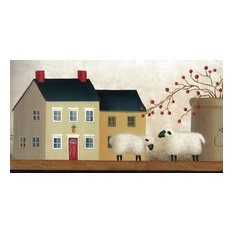 Wallpaper Borders Country Sheep House Wallpaper Border, Prepasted