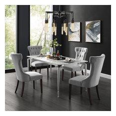 Natalia Wingback Button Tufted Dining Chair Set Of 2 Light Gray Velvet