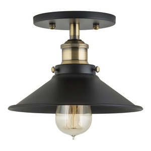 Andante Industrial Semi Flushmount Ceiling Lamp, Antique Brass