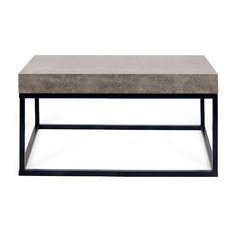 Temahome Tema Petra 30x30 Concrete Look Top Black Legs Coffee Table Tables
