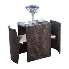 Costway 3 PCS Cushioned Outdoor Wicker Patio Set Garden Lawn Sofa Seat