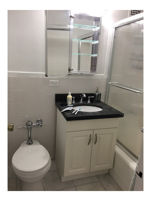 The Old Bathroom Had A Flushometer Toilet Standard Tub Shower Combo Tiles And Countertop That Wasn T Properly Sealed Drove Me Crazy