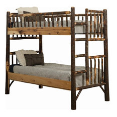 Rustic Hickory Mission Style Bunk Bed, Twin Over Twin