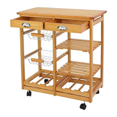 Rustic Multi-Purpose Rolling Kitchen Island, Wood With 2-Drawer, Shelves Basket