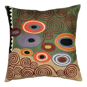 Klimt Green Swirls Decorative Pillow Cover Wool Hand Embroidered 18x18