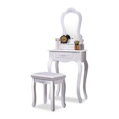 Contemporary Vanity Table Set, Mirror, 3-Drawer and Cushioned Stool, White